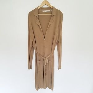 Max Studio Tan Button Front Long Cardigan 2X